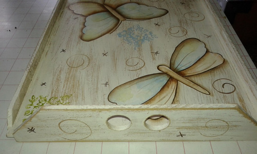 bandeja de fibrofacil pintada a mano