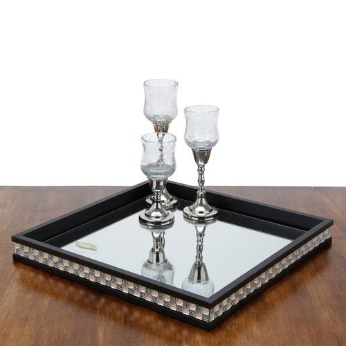 bandeja de madeira com vidro bisotê diamond preta 26,5x26,5x