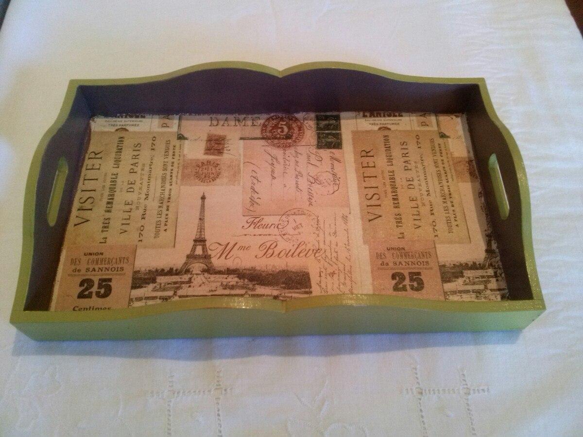 Bandeja de madera decorada con decoupage 380 00 en for Bandejas de madera