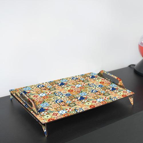 bandeja de madera liviana - mosaicos coloridos 45x29