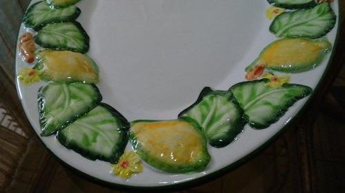 bandeja de pasapalos ó ensaladas ovalada de cerámica