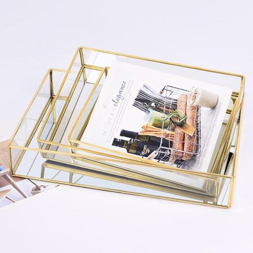 bandeja de vidrio cobre para almacenaje diseño sencillo