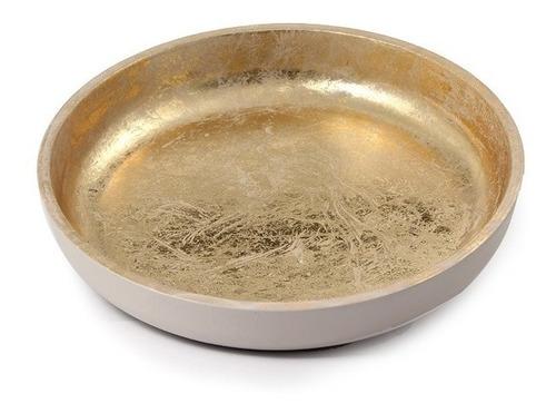 bandeja dorada y mate mediana 30cm diámetro deco tendencia!