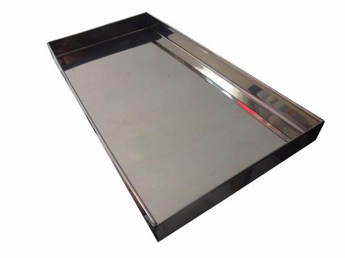 bandeja em inox para estufas de salgados 15 x 29 x 02 cm