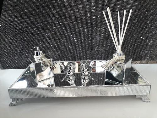 bandeja espelhada+ kit banheiro, difusor e sabonete líquido