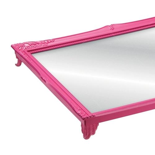 bandeja espelhada mart 4465 rococó 4,5x29,5x24,5 quadro rosa