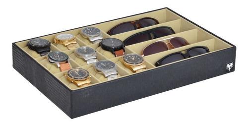 bandeja estojo para 9 relógios e 4 óculos couro ecológico
