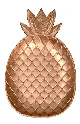 bandeja forma piña dorada grande 35x22x3 cm