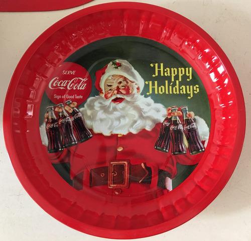 bandeja navideña de coca cola 25 cm  -nueva.
