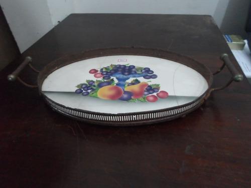 bandeja oval de faiança motivo frutas