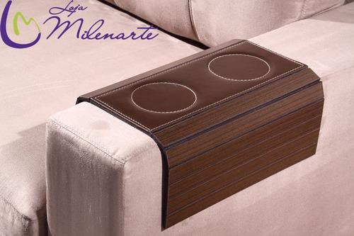 bandeja para braço de sofá tabaco. porta copos em courino