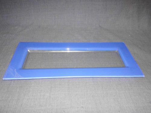 bandeja para sushi de vidrio transparente y borde azul