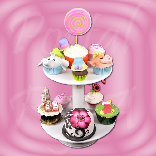 bandeja pie posa cupcakes de 2 pisos parpen