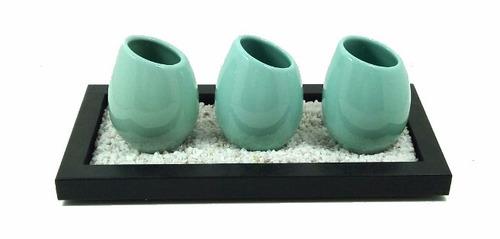 bandeja piedras 3 floreros decoracion ceramica regalo hogar