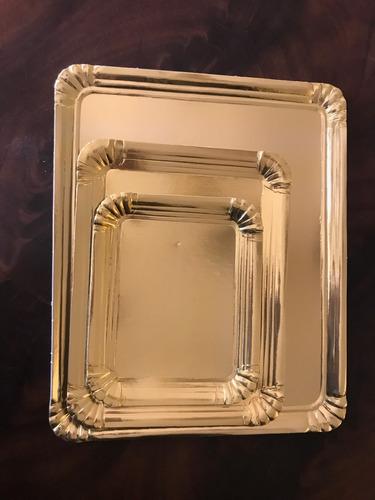 bandeja plato dorado rectangular 1/2 kg 18x22,5 cm  masas alfajores x50u
