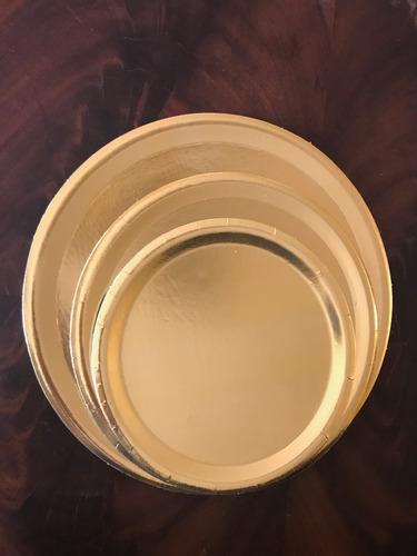 bandeja plato dorado redondo 24 cm tortas tartas postres 50u