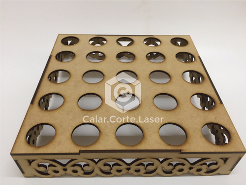 bandeja porta tubos  25x25 calada laser candybar fibrofacil
