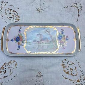 8e3f27a40a7f Bandeja Rectangular Porcelana Verbano Pintada A Mano Oro