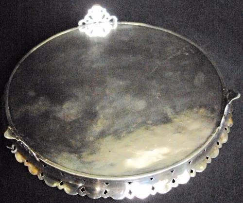 bandeja redonda antiga em prata de lei portuguesa 833 javali