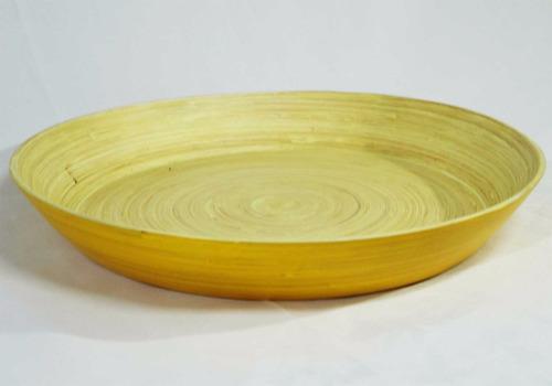 bandeja redonda de bambu artesanato cozinha 35x6 cm   (fp28)