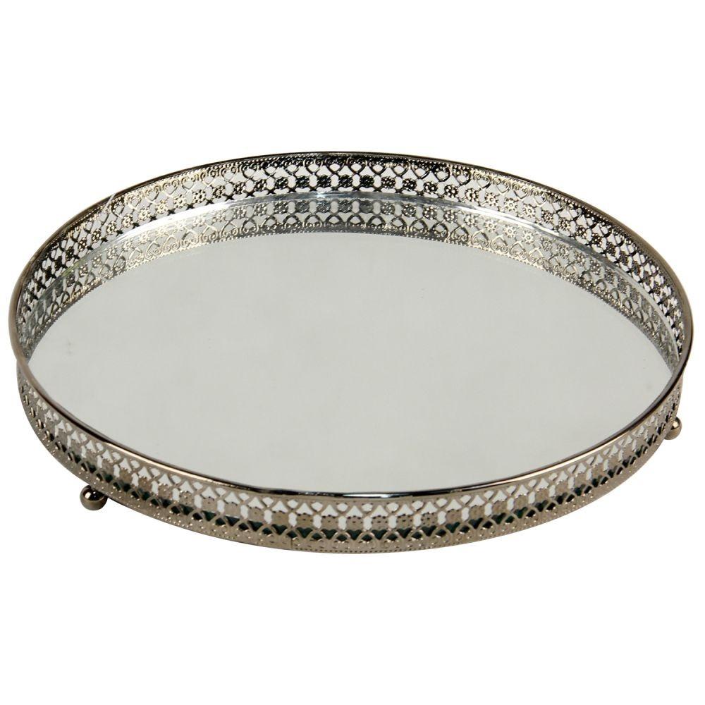Bandeja redonda espelhada luxo metal cor ferro 20 5cm - Bandeja metal ...