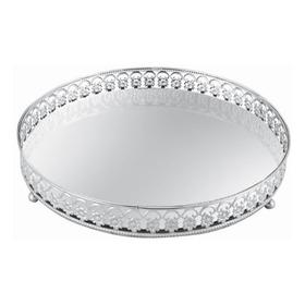 Bandeja Redonda Prata Em Metal Com Espelho Premium Mart 6534