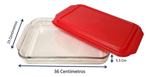 bandeja refractario de vidrio c/tapa 2.7 lt incluye envío