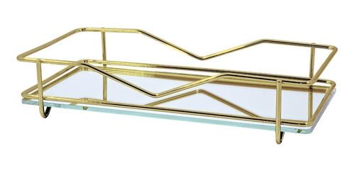 bandeja vivi  dourada 10 x 20 cm lavabo hara