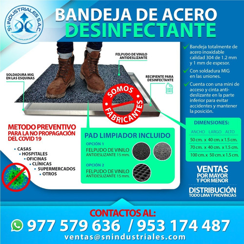 bandejas desinfectantes de calzado