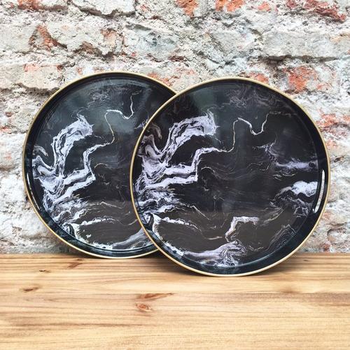 bandejas redondas simil marmol negro- juego x 2 piezas