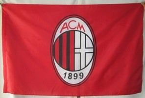 bandera acm milan(tamaño 90cmsx150cms)doble faz polyester