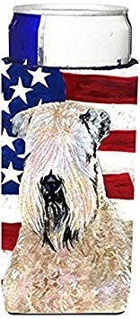 bandera americana con ee.uu. terrier de trigo suavemente rev