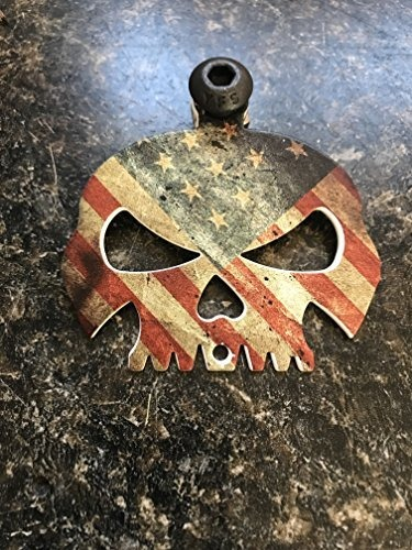 Rustic American Flag Skull Bell Hanger//Mount for Motorcycle Bolt /& Ring Included fits all bikes Road King Street Glide Harley Davidson Kustom cycle parts