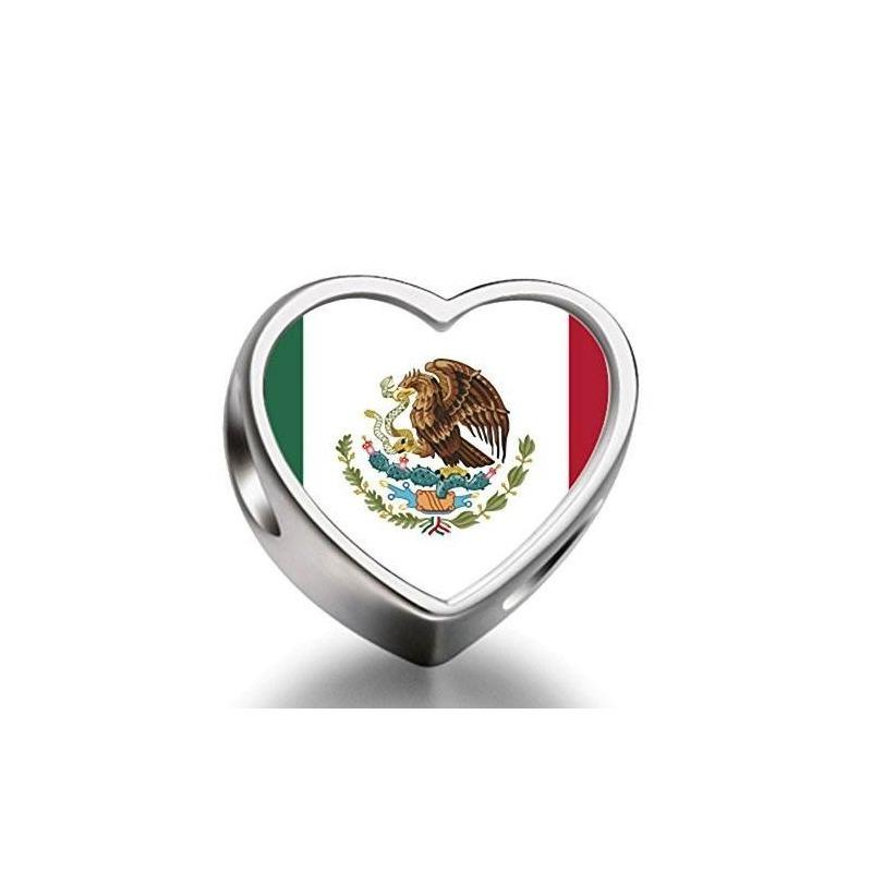 a28fb904d2f4 bandera de méxico corazón plateado encantos pulsera collar p. Cargando zoom.