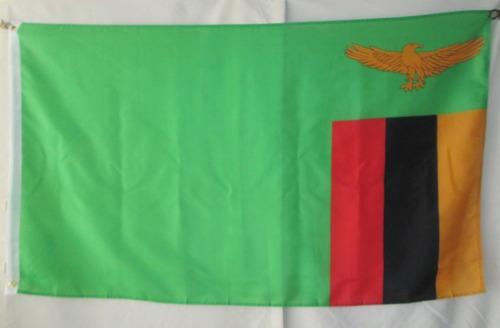 bandera de zambia (tamaño 90x150cms) doble faz polyester