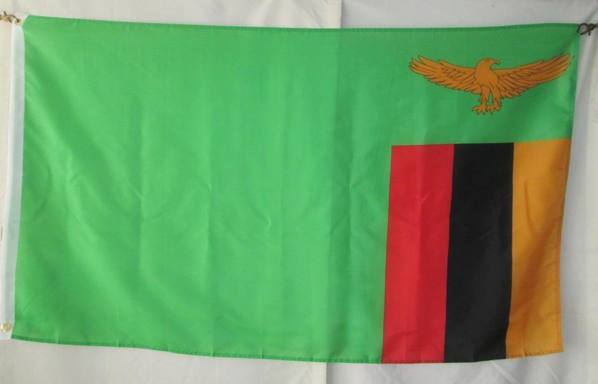 Bandera de zambia tama o 90x150cms doble faz polyester - Tamano de baneras ...
