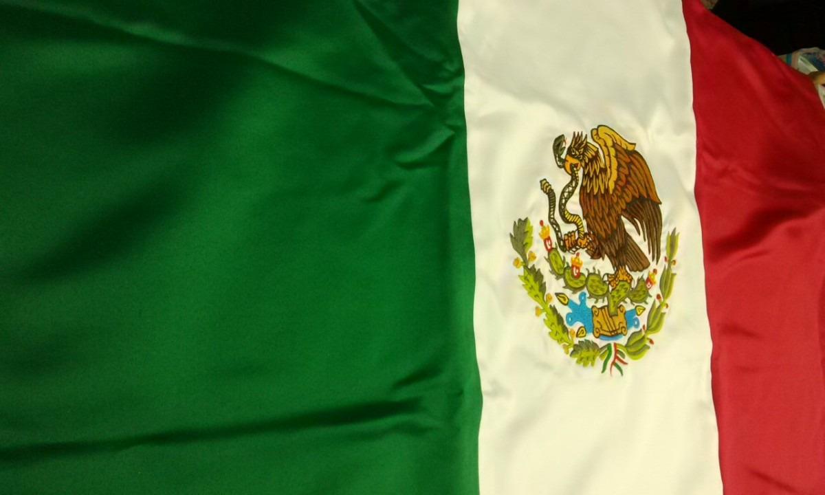 Bandera Mexico Bordada Color Doble Vista .60x1.05