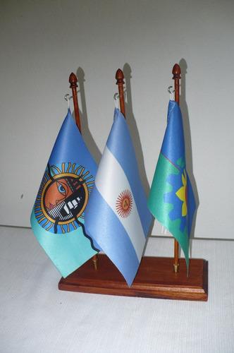banderas escritorio base triple