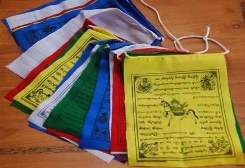 banderas tibetanas de oración + opción mala budista