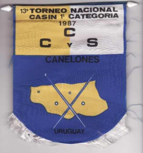 banderin - 13º torneo nacional de casin - 1987 - canelones