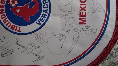 banderin autografiado club tiburones veracruz #2