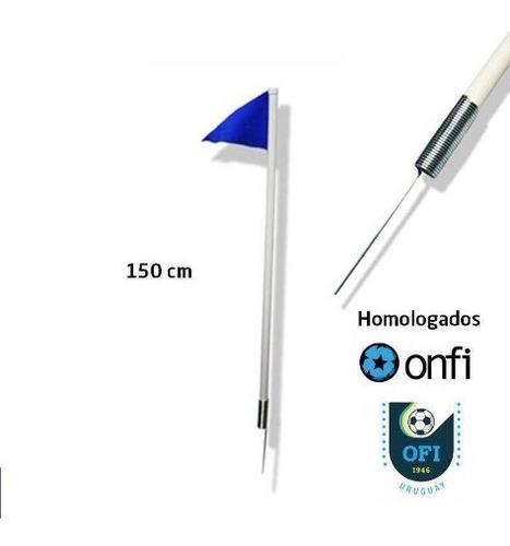 banderin de corner 150 cm x 4 con resorte homologado