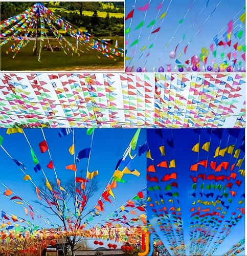 banderín de tela multicolor de 15 metros de longitud