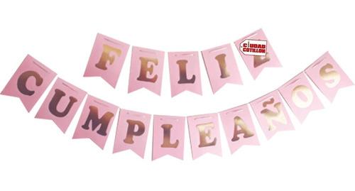 banderín feliz cumpleaños rosa pastel - ciudad cotillón