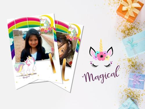 banderin guirnalda invitacion cumpleaños unicornio
