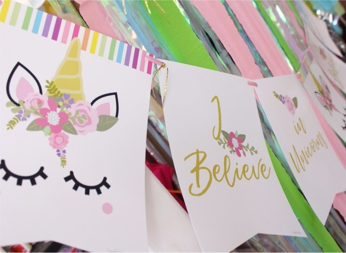 Banderin guirnalda unicornio decoraci n fiestas for Decoracion para la pared de unicornio