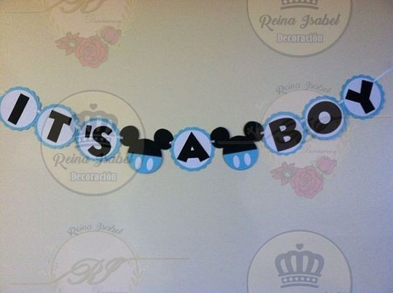 Banderin Mickey Mouse Baby Shower Candy Bar Cumple Bautismo