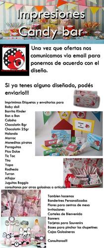 banderín personalizado listo p/colgar cumpleaños candy bar