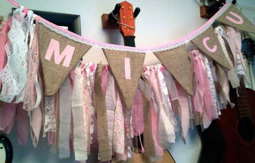 banderines de arpillera tela doble, fiestas, bodas, cumples