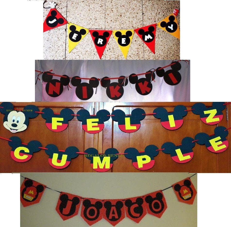 Banderines de mickey mouse cumplea os rosetas guinaldas for Mesa de cumpleanos de mickey